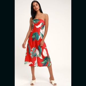 Lulus Rainforest Blooms Red Strapless Jumpsuit